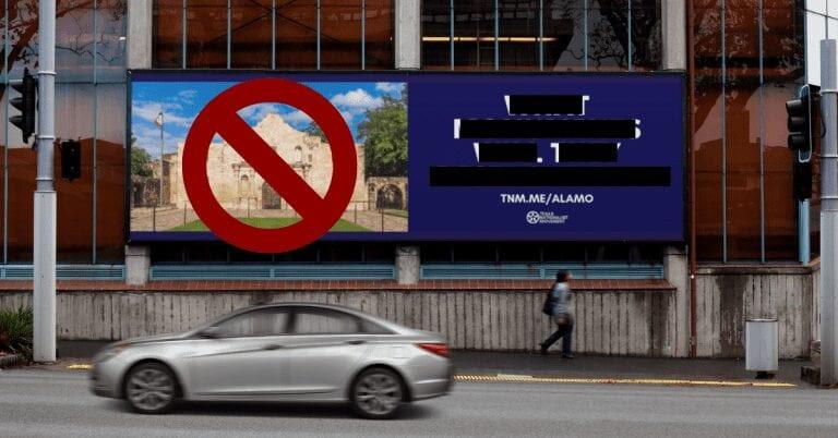 Alamo billboard censored